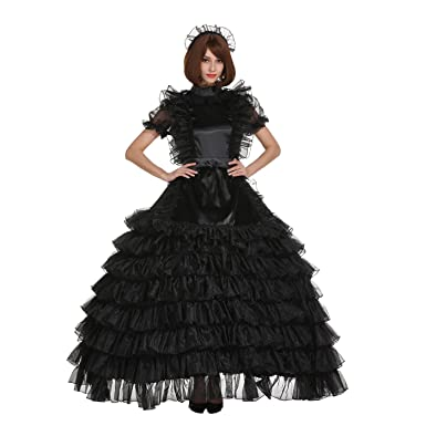 e49e39738e5 GOceBaby Pansy Sissy Shiny Satin Organza Long Prom Puffy Dream Dress  Crossdressing (M) Black
