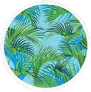 SIRCLE Geometric Beach Round Towels (Palm)