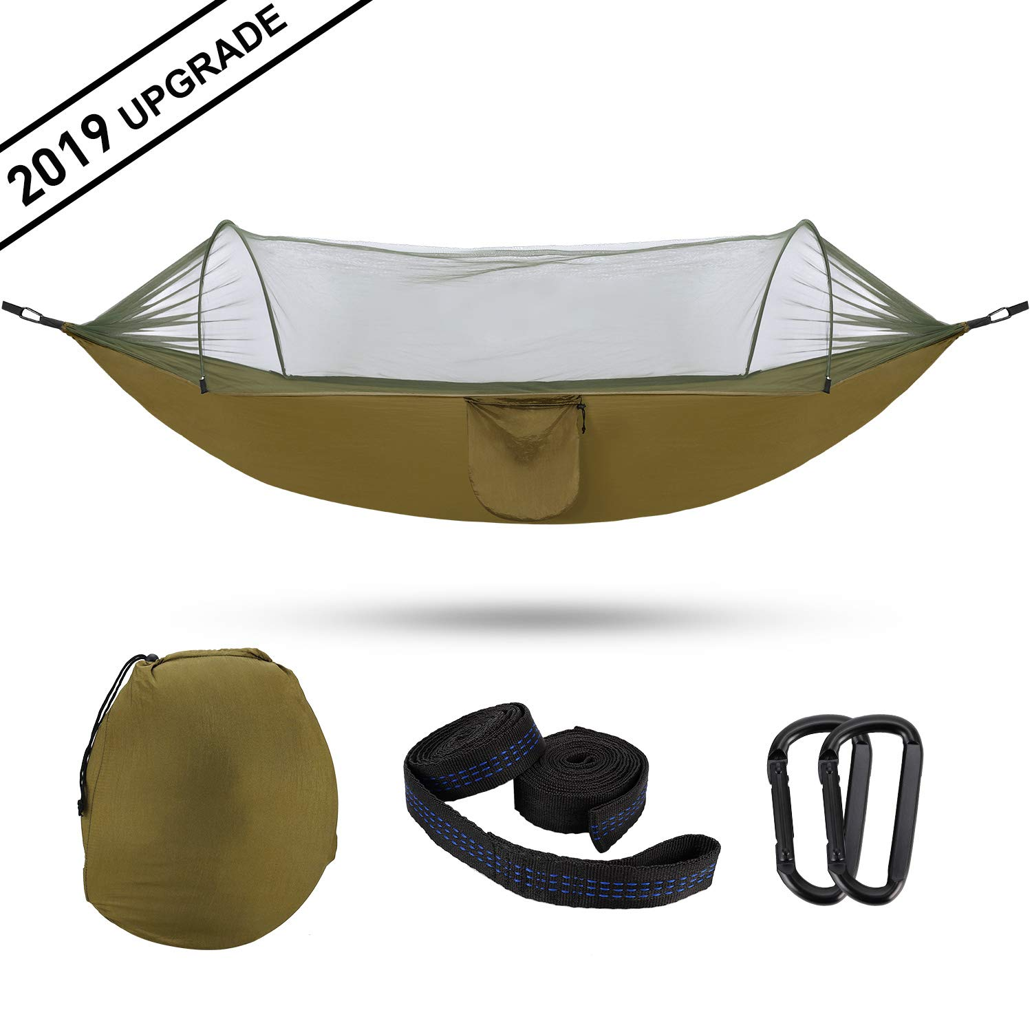 Gsung Camping Hammocks with Pop-Up Mosquito Net,Large Size Outdoor Hammock Portable Swing 2 in 1,Anti-Mosquito Design Hammocks for Outdoor, Hiking, Travel