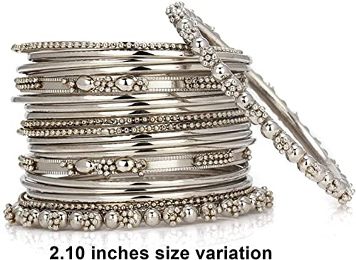 Jwellmart Indian Ethnic Bollywood Collection Oxidized Silver Metal Bangle Set for Women and Girls