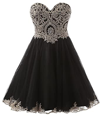 c6bb3b45c04f6 Clearbridal Short Prom Dress Homecoming Ball Gown Black for Women and  Juniors