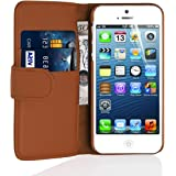 iPhone 5 Case, JAMMYLIZARD Leather Wallet Flip Cover for iPhone 5 / 5s / SE, Brown