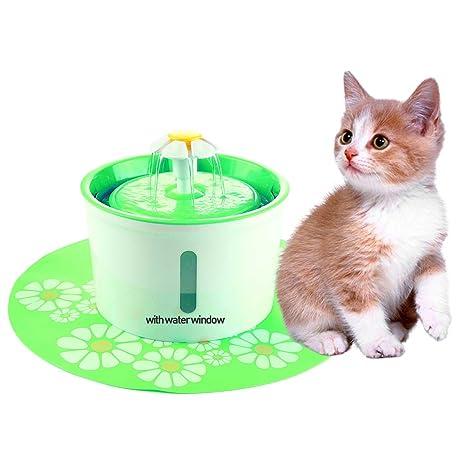 Kobwa Fuente de agua para mascotas, 1.6L Bebedero Automático Silencio con 2pcs Filtros y