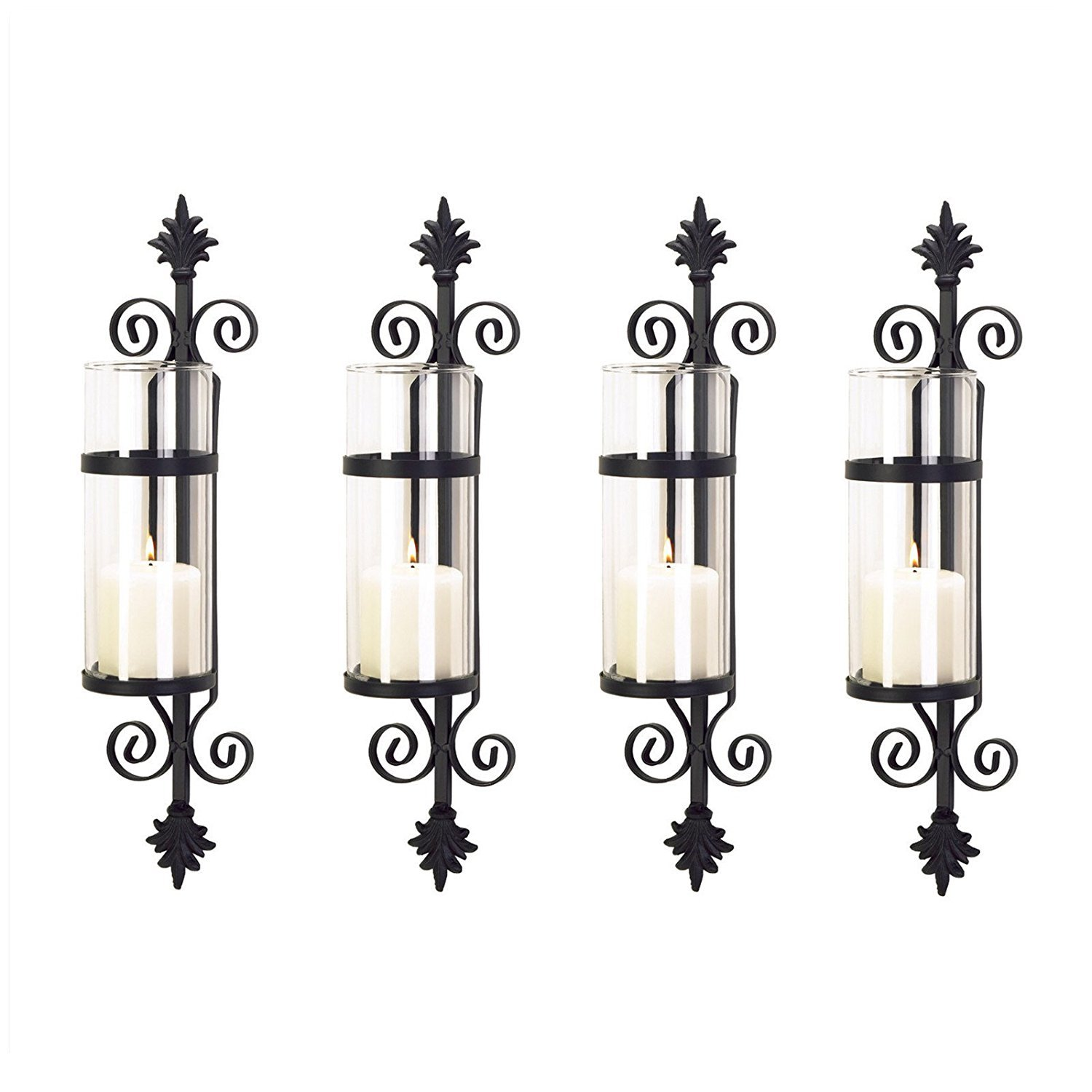 4 Ornate Scroll Fleur De Les Pillar Wall Sconces Candle Holders SET