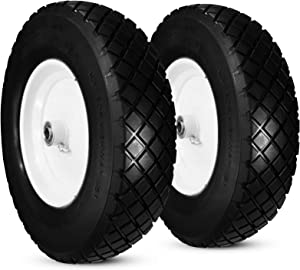 """Horseshoe 2 New Solid Residential Knobby 4.80/4.00-8"""" Flat Free Tire for Wheelbarrow/Cart Universal 16"""" w/Steel Rim Packed in Carton-Bore 5/8"""" & 3/4"""" T120-Hub 3-6"""" Adjustable"""