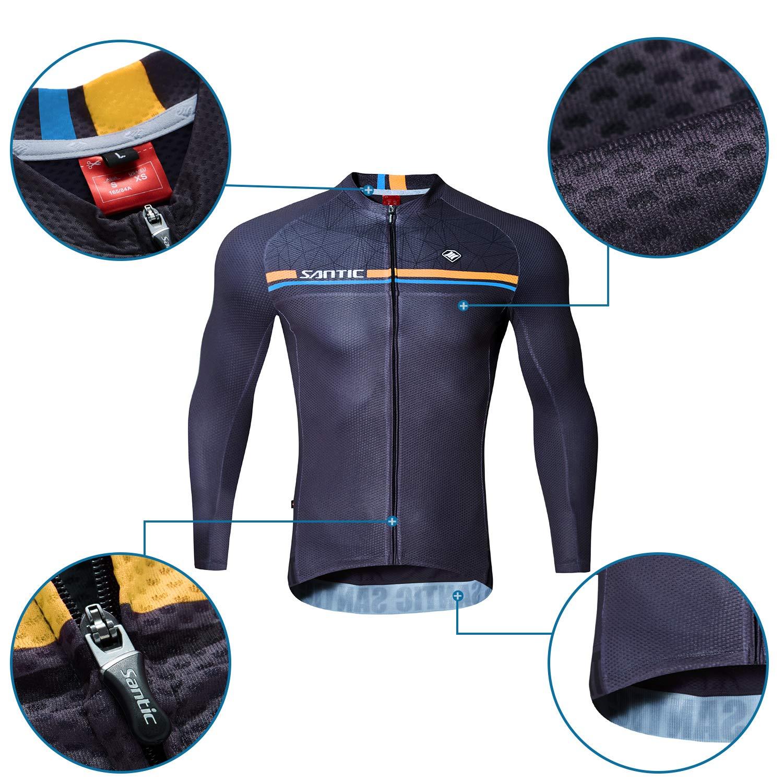 Santic Magliette Ciclismo Uomo,Maglia Ciclismo Uomo con Maniche Lunghe,Maglietta Bicicletta per Uomo