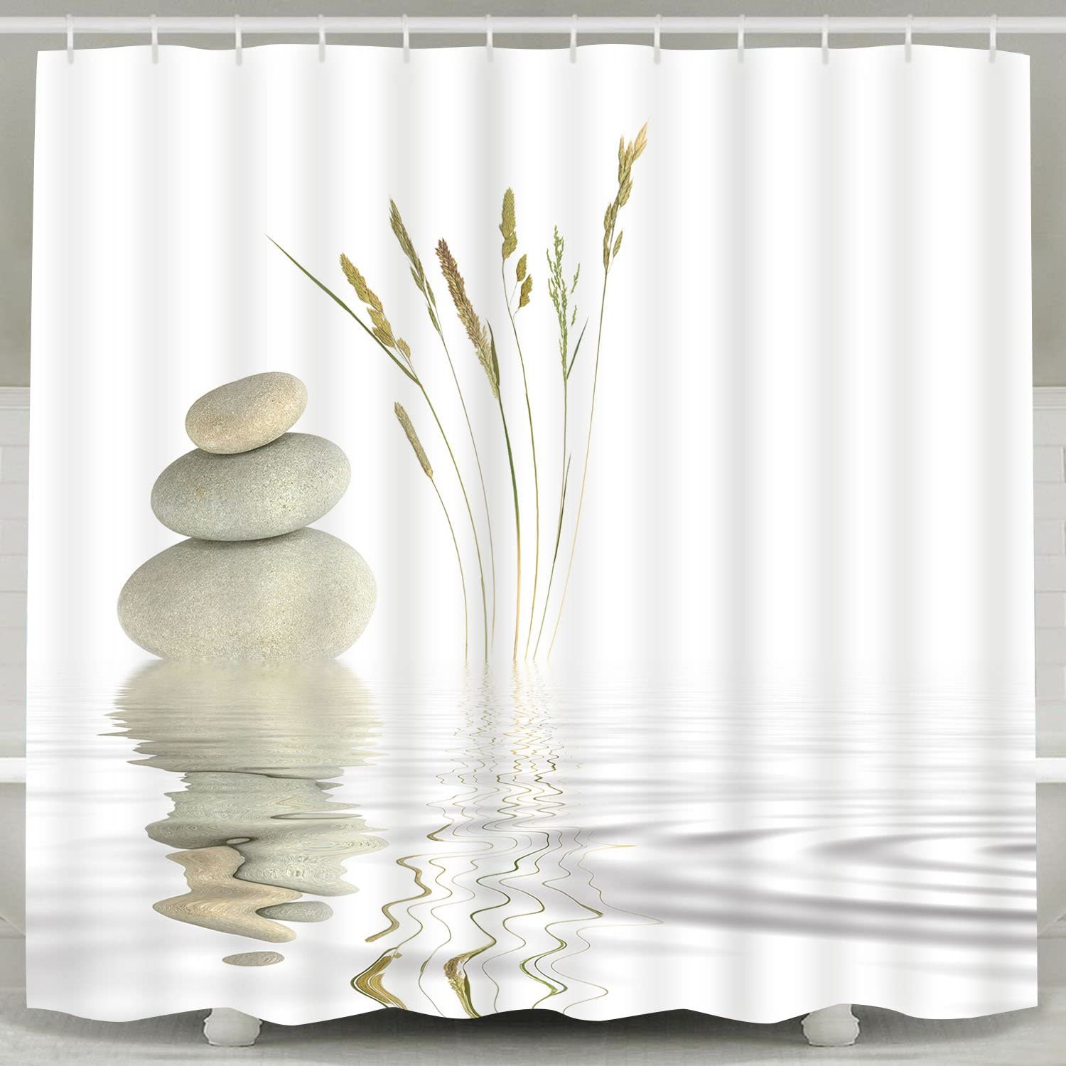 BLEUM CADE Shower Curtain Zen Stone Wild Grass Reflection in Water Shower Curtains 12 Hooks, Meditation Design Waterproof Fabric Bathroom Shower Curtain