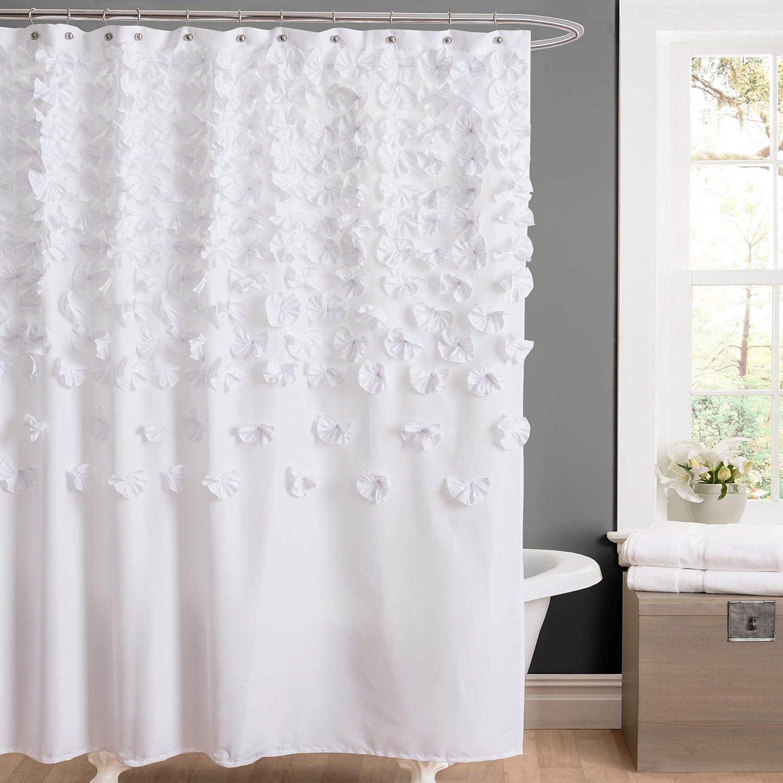 """Lush Decor Lucia 72"""" x 72"""" Shower Curtain, White"""