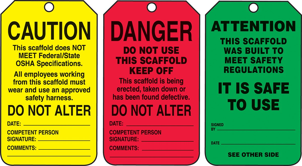Accuform TSS200PTM RP-Plastic Scaffold Status Tag, Legend''DANGER/CAUTION/ATTENTION'', 5.75'' Length x 3.25'' Width x 0.015'' Thickness, Black on Green/Yellow/Red (Pack of 5)