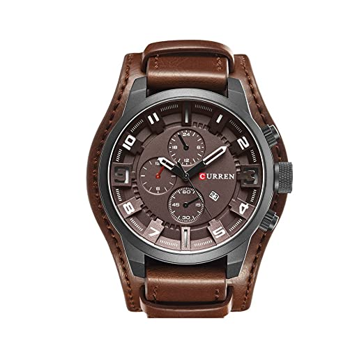 ff71ee0acc6e de cuarzo analógico reloj de café de los hombres maduros esfera de un reloj  de pulsera