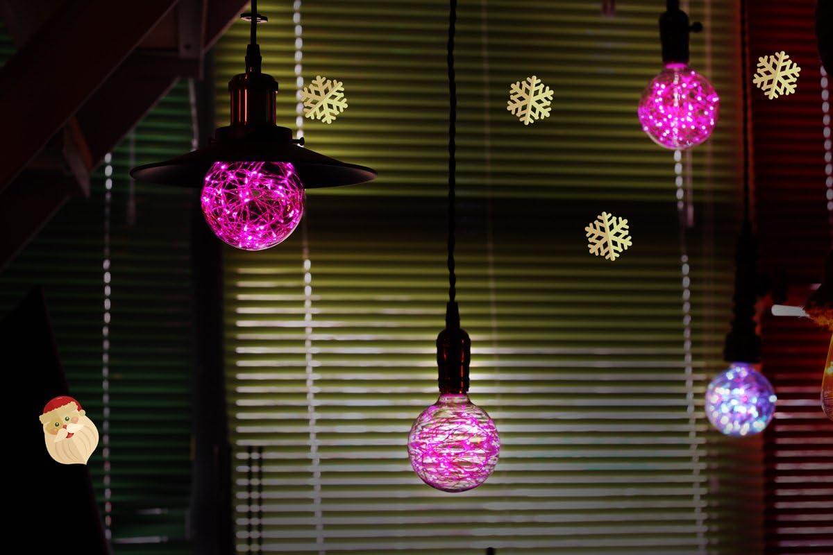Red Judy Lighting Bedroom E26 Standard Medium Base Edison with Starry Decorative String Lights for Bathroom G95 LED Globe Fairy Light Bulb for Ambient Night Lighting Living Room
