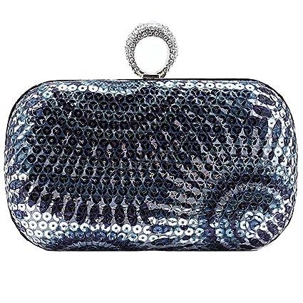 KAXIDY Sacs Pochette Diamant Femmes Élégantes Sacs Soirée Pochette en Diamante (Bleu) A7umyES