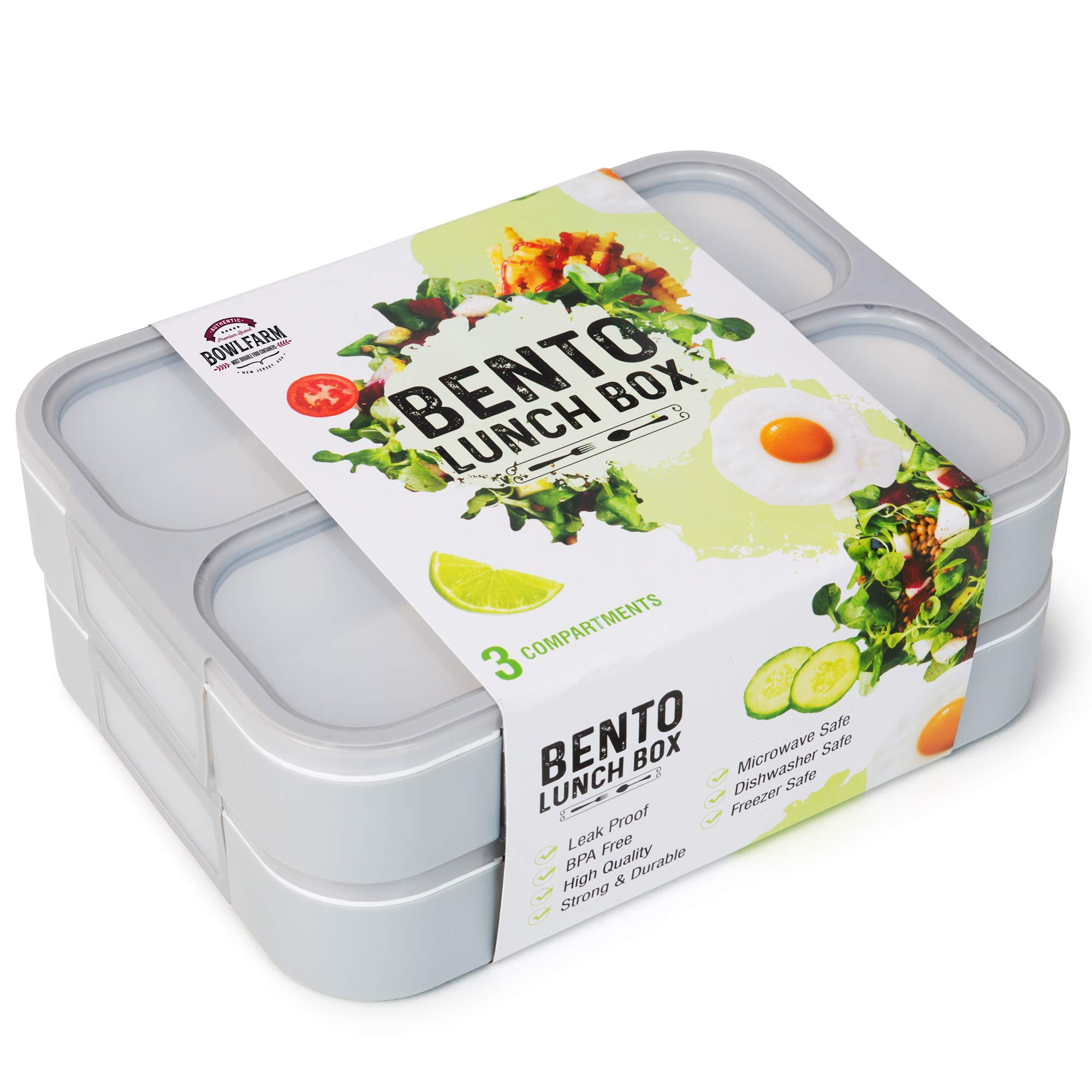 Deluxe Bento Lunch Box Set, 2 Leakproof Containers With 3 Compartments, FDA Approved and BPA-Free Meal Box For Adults and Children, Ideal For Food Prep and Meal Planning, By Bowlfarm