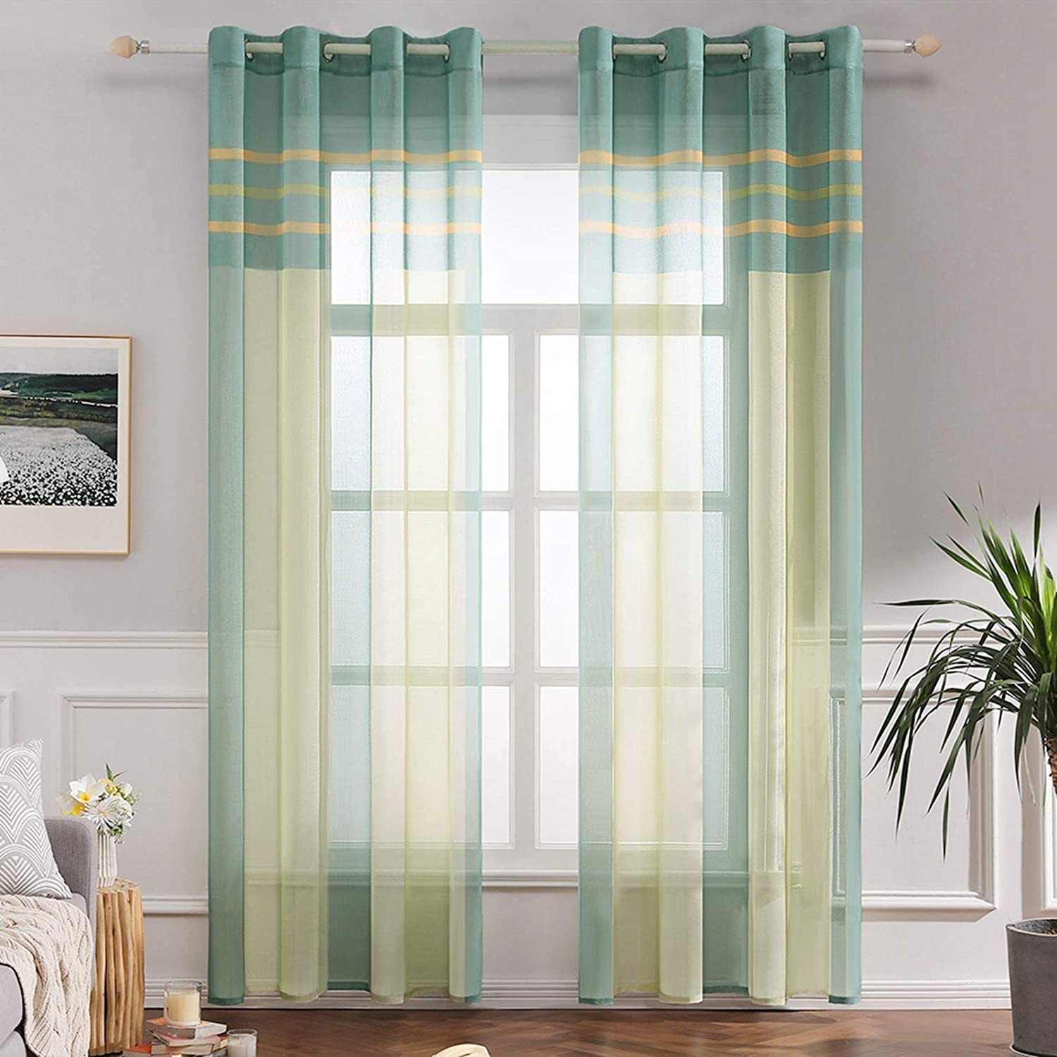 Green+Yellow 140cm x 225cm MIULEE 2 Panel Contemporary Decorative Ring Top Eyelet Voile Curtains Elegance Pinstripe Sheer Panels for Bedroom Livingroom Nursery Room 55 wide x 88 Drop
