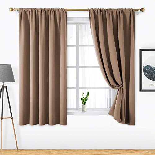 HOMEIDEAS 2 Panels Taupe Blackout Curtains Cappuccino Pocket Curtain