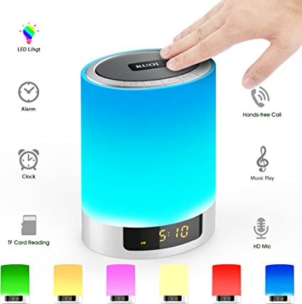 Amazon Com Night Lights Bluetooth Speaker Touch Sensor Led Table Lamp Dimmable Rgb Multi Color With Alarm Clock Tf Card Slot Hands Free Calls Best Gift For Kids Party Bedroom Outdoor Home Audio Theater