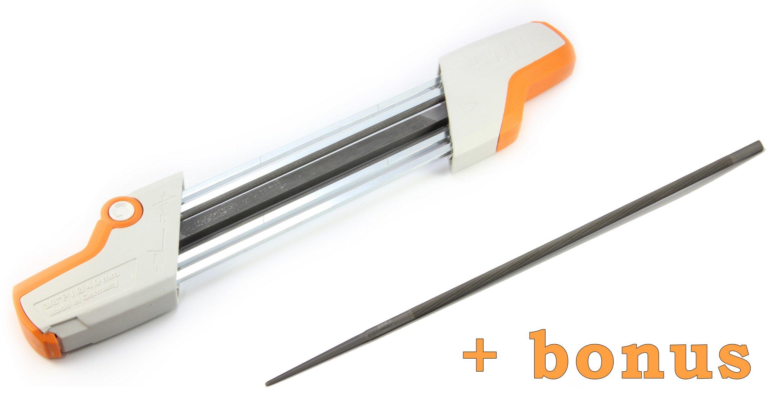 Stihl 2 in 1 Easy File Chainsaw Chain Sharpener Kit, 3/8 P 4.0 mm + Bonus Replacement File!