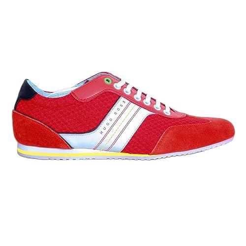 Hugo Boss - Zapatillas de Otra Piel para Hombre Rojo Rojo Brillante, Color Rojo, Talla 43,5 EU: Amazon.es: Zapatos y complementos