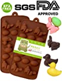PERNY Easter Ugly duckling, Rabbit and Easter Eggs Shapes Silicone Chocolate Dessert Soap Crayon Ice Cake Decoration Mold,Reusable, BPA Free, 2 Pack