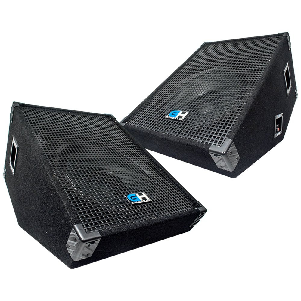 Grindhouse Speakers - GH15M-Pair - Pair of 15 Inch Passive Wedge Floor / Stage Monitors  400 Watts RMS each - PA/DJ Stage, Studio, Live Sound 10 Inch Monitor by Grindhouse Speakers