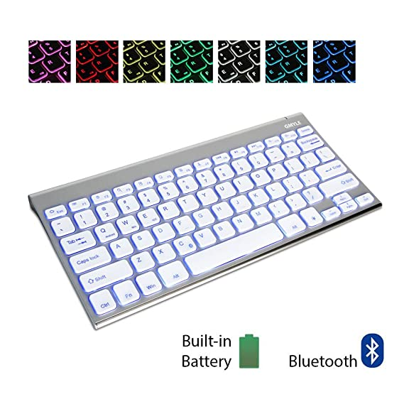 GMYLE 7 Colors Backlit Aluminum Bluetooth Keyboard Ultra Slim for iOS Android Windows w/Built in Rechargeable Battery  Metallic Silver  Keyboards