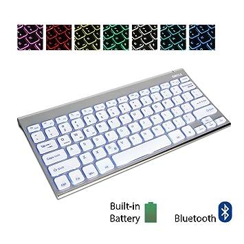 GMYLE® [Acero Inoxidable] Teclado Universal 7 colores de iluminación con Bluetooth para su