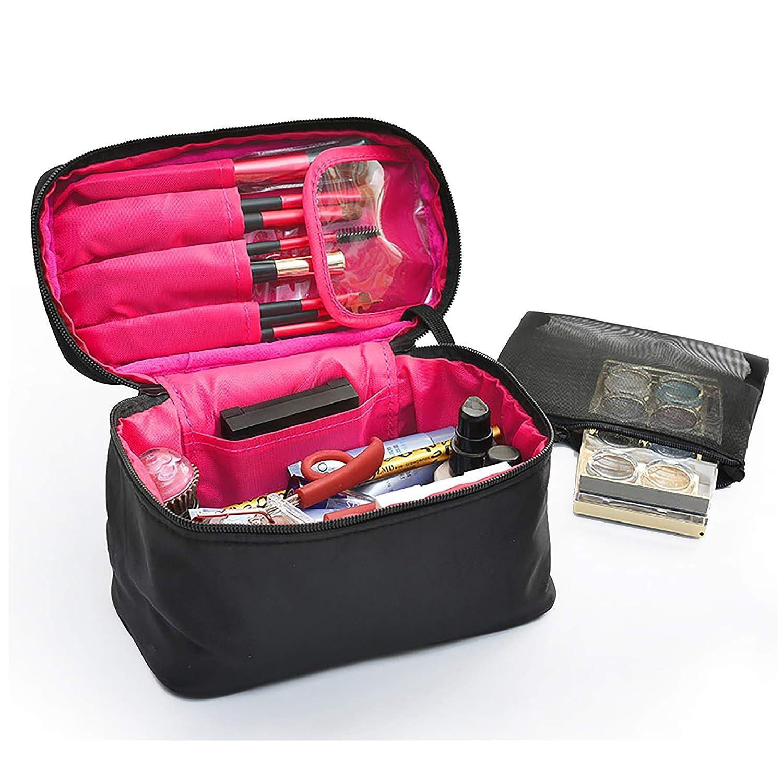 sciuU Bolsa Cosmética de Viaje, Estuche de Belleza Lavado portátil Plegable, Multiusos Organizador de Nylon para Maquillaje, Viaje o Accesorios para el Hogar, Negro