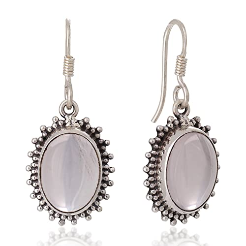 925 Sterling Silver Natural White Moonstone Oval Gemstone Dangle Drop Earrings