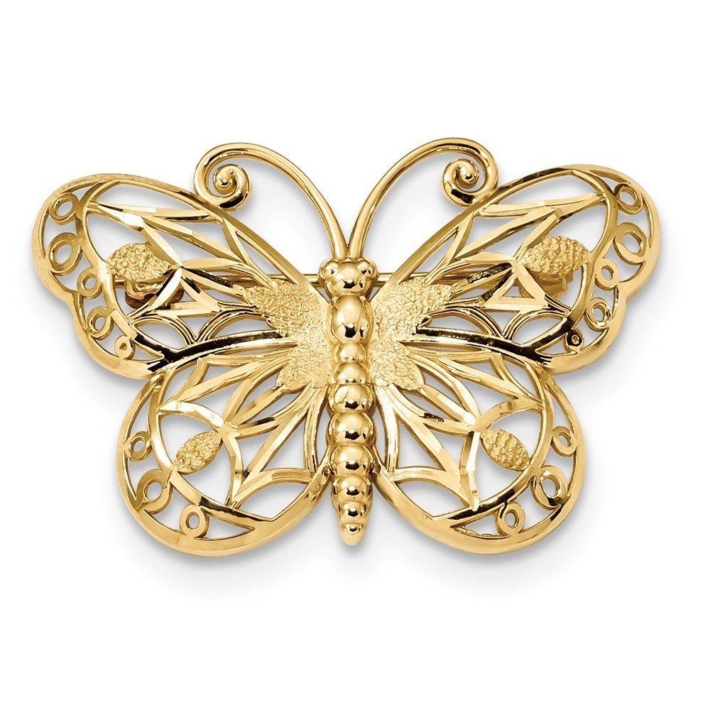 14K Diamond-cut Polished & Satin Butterfly Pin by Jewelry Adviser Tie Pins (Image #1)