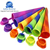 Joyoldelf Popsicle Moulds - Party Pack of 6 Silicone Ice Pop Maker Mold Set for Popsicles or Reusable Lunch Snack Bags, 2 in 1