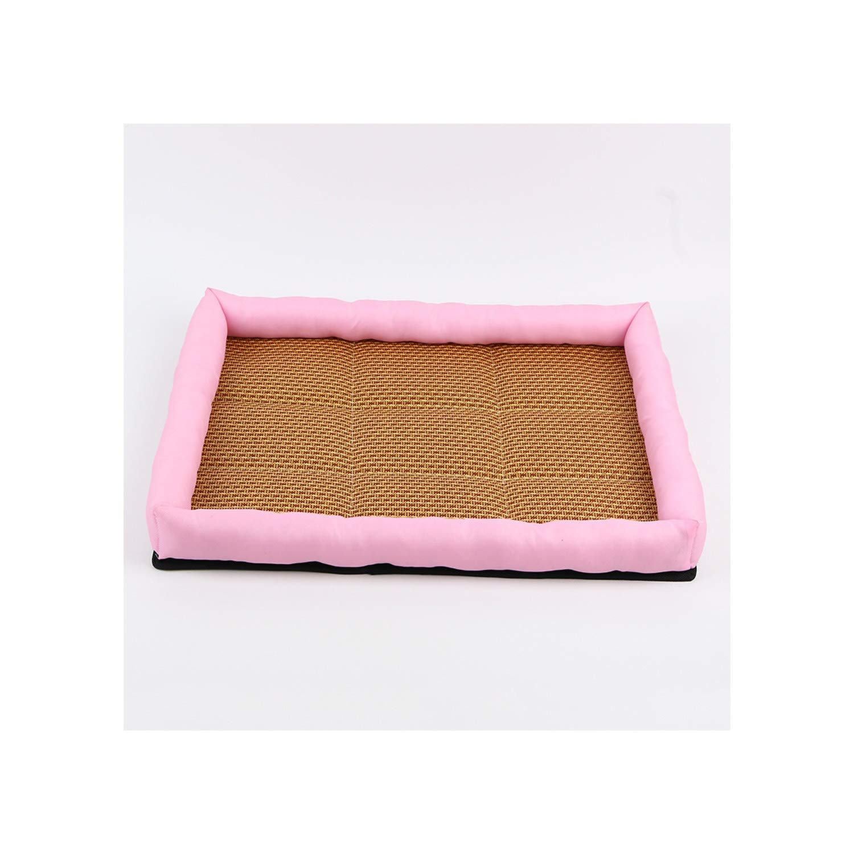 Summer Pet Mat Kennel Cooling Dog Mattress Rattan Breathable Mat Pet Bed Pet Sleeping Resting Comfortable Dog Accessories,Pink,XL