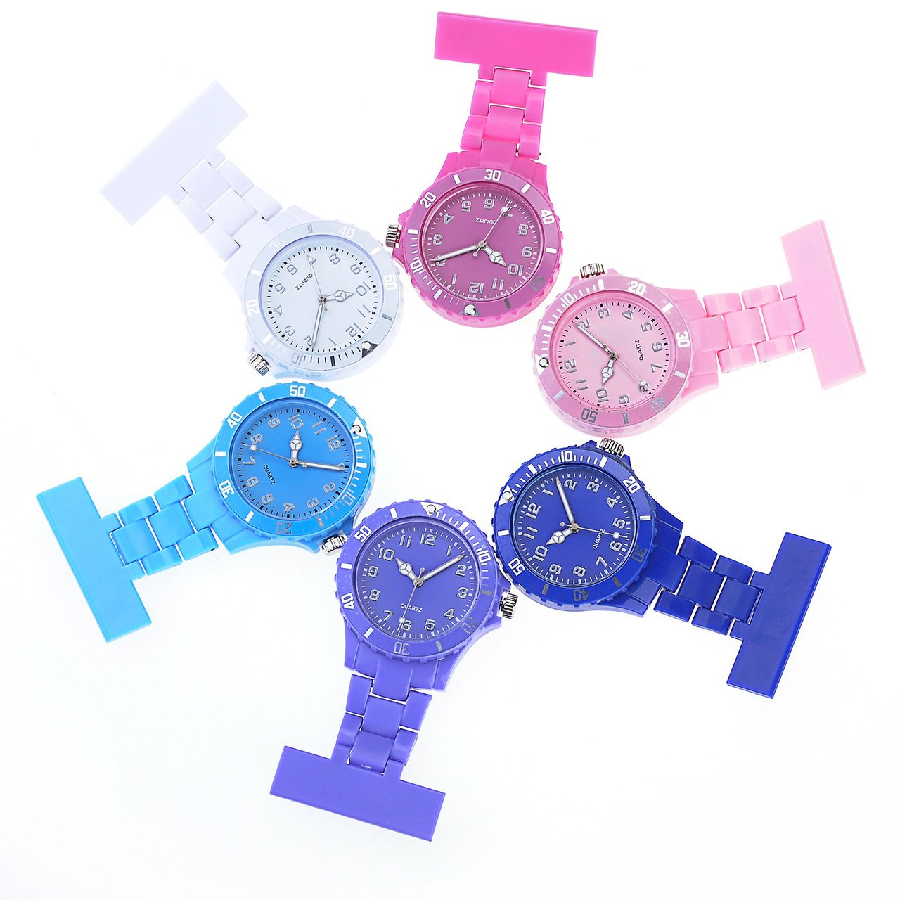 Top Plaza Women's Fashion Nurse Clip-on Fob Brooch Lapel Pocket Watch, Pack of 6