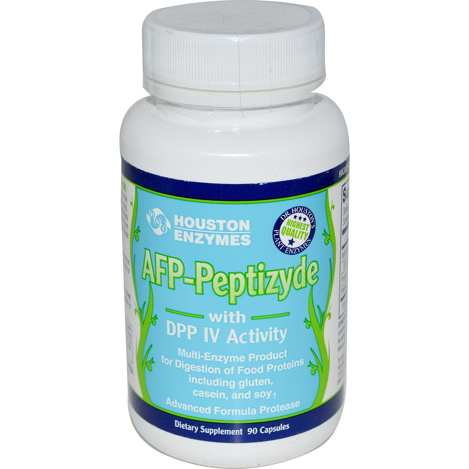 Houston Enzymes AFP-Peptizyde with DPP IV Activity with Cellulose 90 Capsules