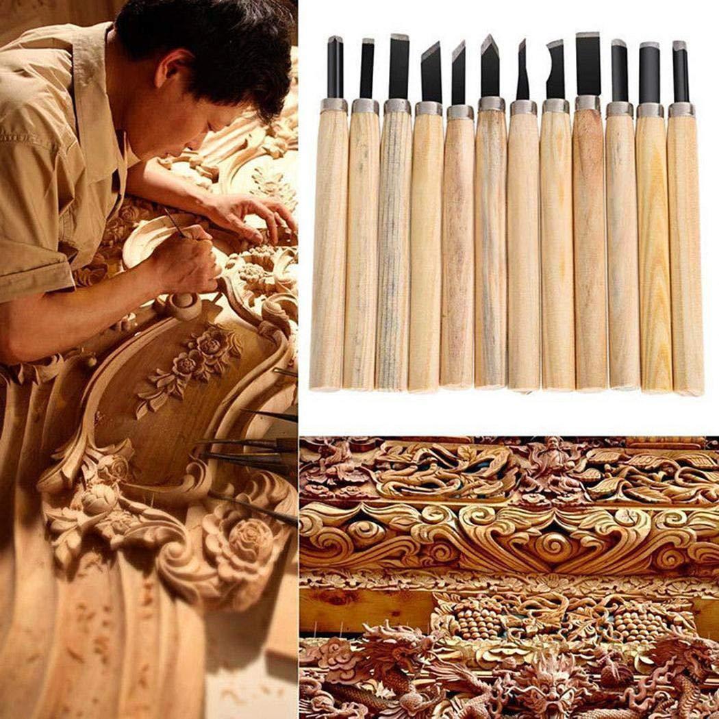 Carsge Student Craft Woodworking Juego de Cuchillos para tallar con Mango de Madera Cinceles para Madera