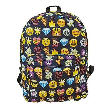Sannysis Mochilas Escolares Juveniles para Chicas Emoji Mochilas Mujer Viaje Bolsas con Cremallera, Emoji Carteras de expresión (Negro): Amazon.es: Deportes ...