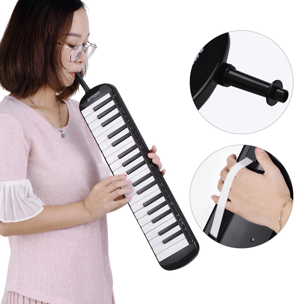 ammoon 37 Key Melodica Instrument with Carry Case for Music Lovers Beginners-Black by ammoon (Image #3)