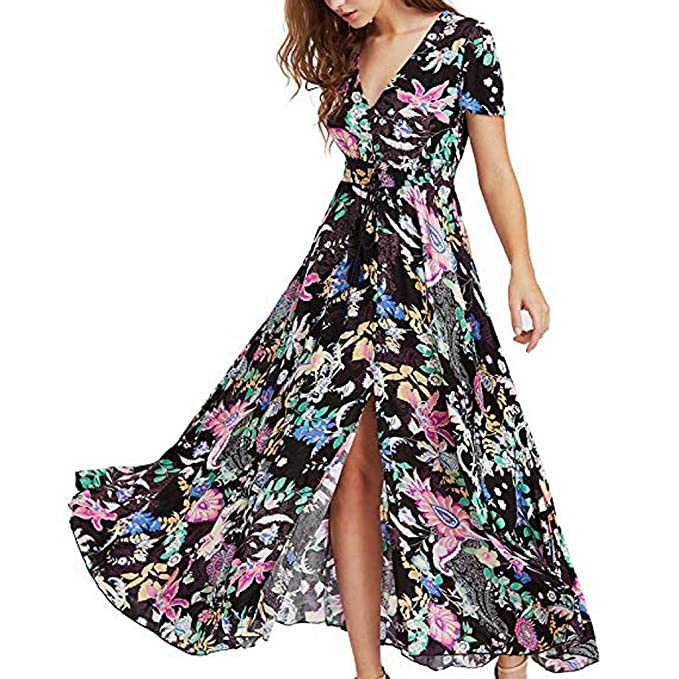 c40468124b81 Amazon.com: Shybuy Wrap Maxi Dress Short Sleeve V Neck Floral Flowy Front  Slit High Low Women Summer Beach Party Wedding Dress: Clothing