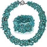 Bling Jewelry Multi Collana Cluster fili Turchese Chips e Bracciale Set