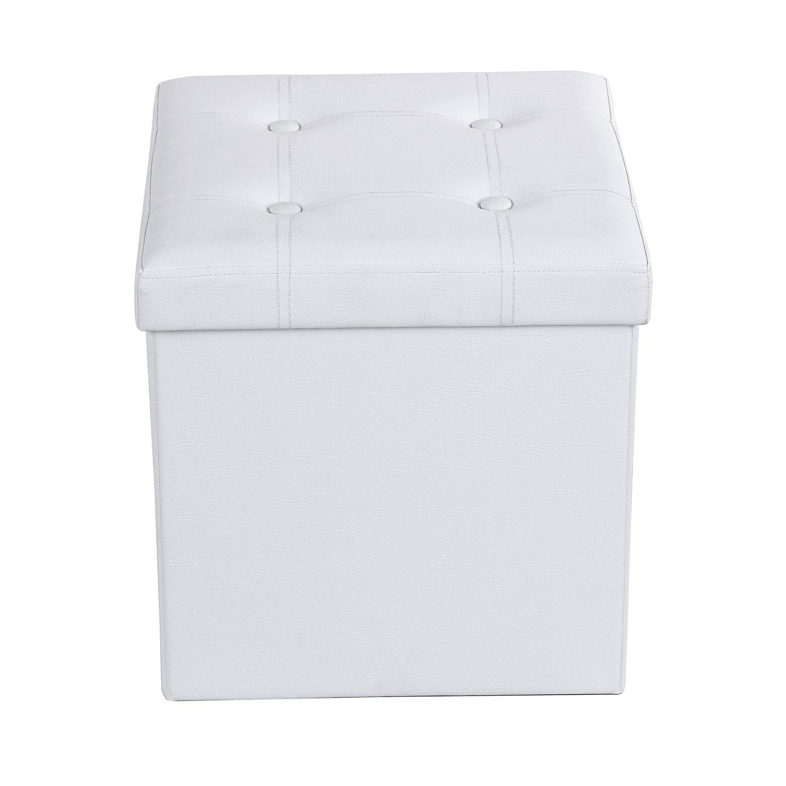 SONGMICS Cassapanca Pieghevole Portatile con Manici Sgabello Poggiapiedi Contenitore Cubico al Lato di 38 cm Carico Portante al Sedile Fino a 300 kg Bianco LSF30W product image