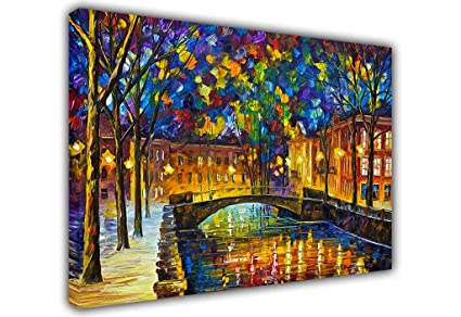 Contemporary Art City Painting By Leonid Afremov Canvas Wall Art