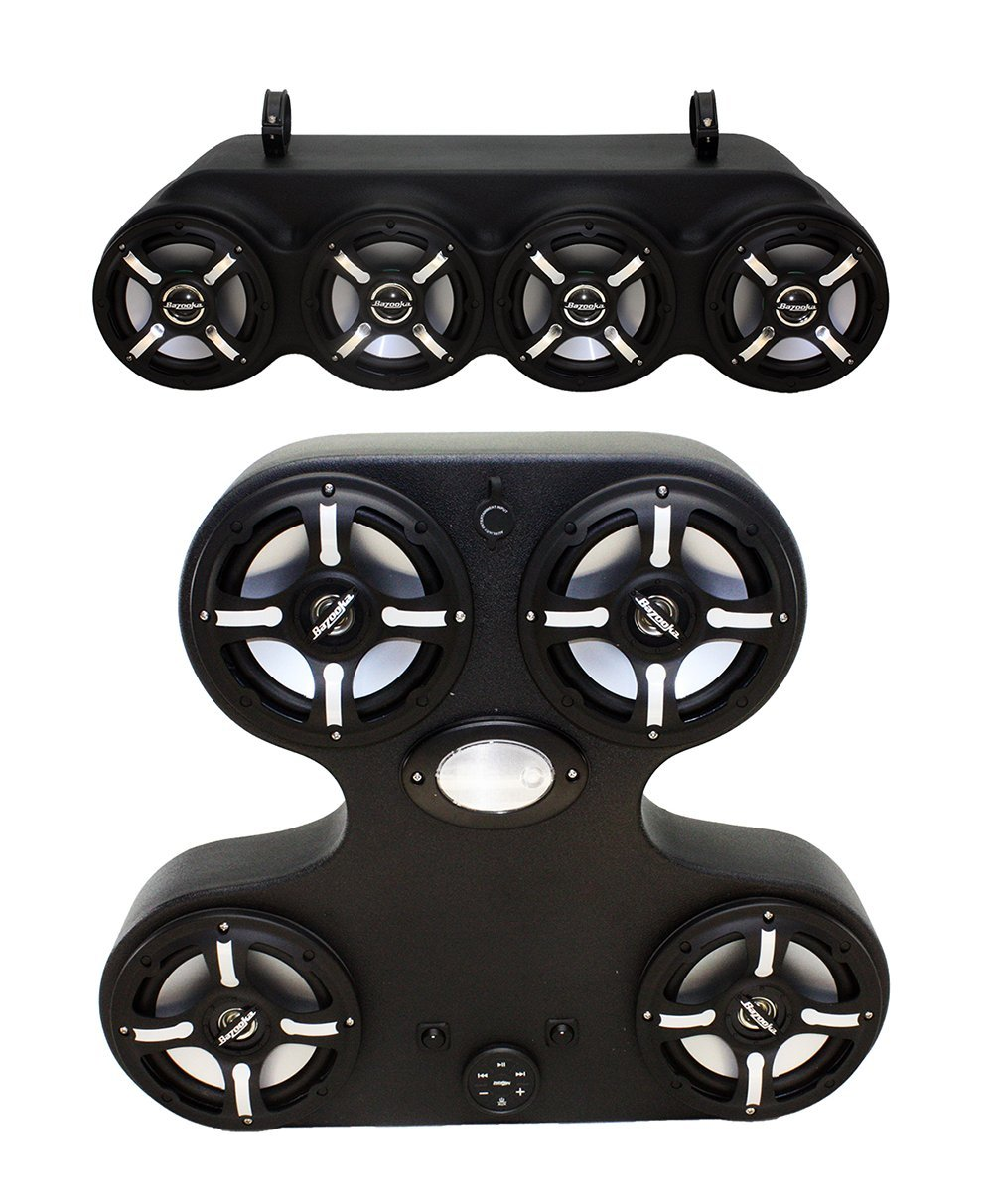 Polaris General AMPHIBWK7BZ 4 Speaker Media Console paired with a 4 Speaker Bluetooth Amplified Wake Tower System