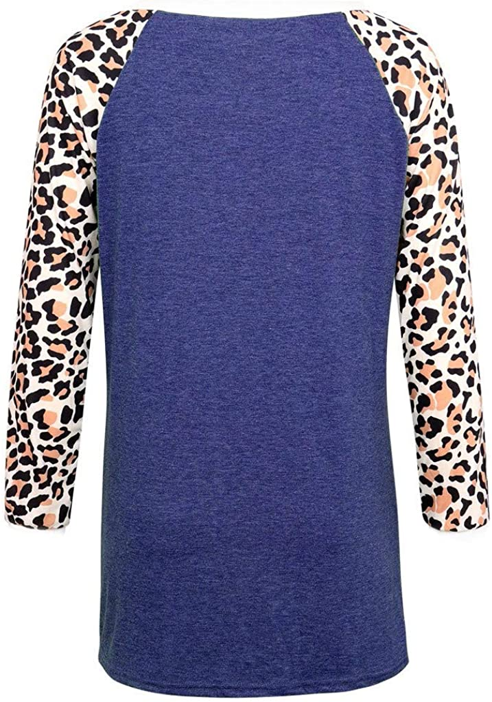 DMZing 50/% 0ff Women Fashion Loose Leopard Print Print Loose Knotted Long Sleeve Top Animal Print Tops