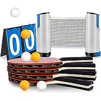 Xddias Raquetas de Tenis de Mesa, 4 Raquetas + Red Retráctil + Tarjeta de Puntuación + 6 Bolas Conjunto de Pingpong Set…