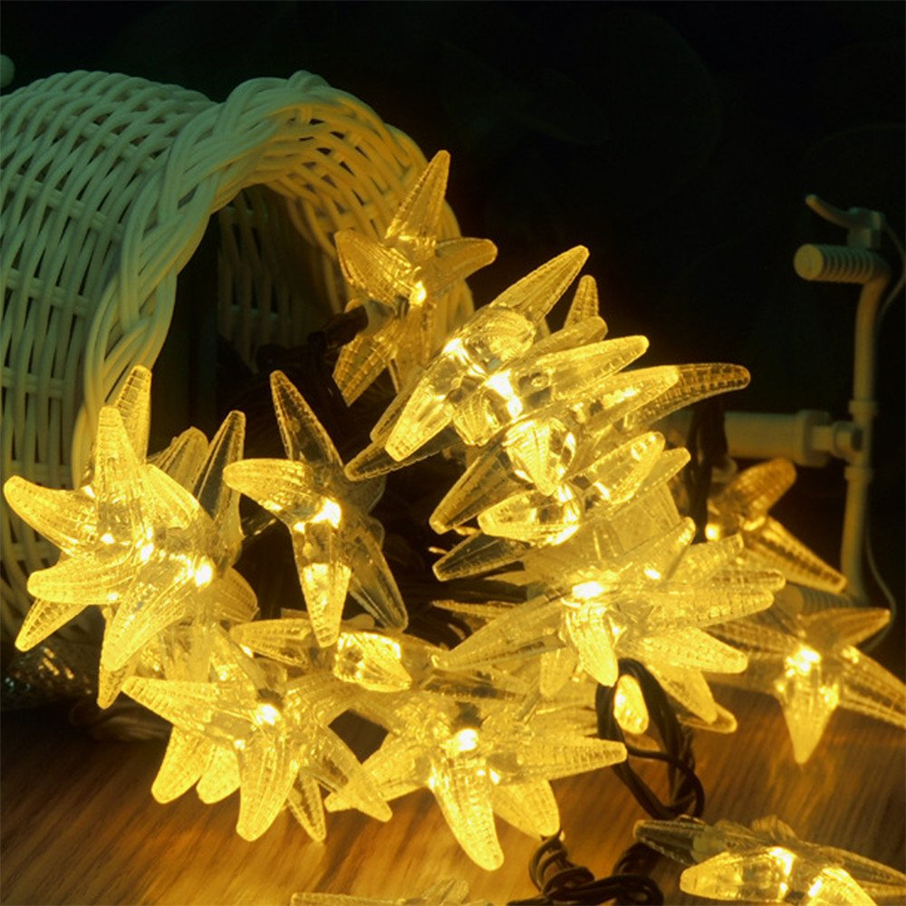 MeiLiio Solar String Light 30 LED Starfish Shape Decorative Ambiance Hanging Solar Powered Fairy Lights for Bedroom Wedding Garden Landscape Home Holiday Decorations (Warm White)