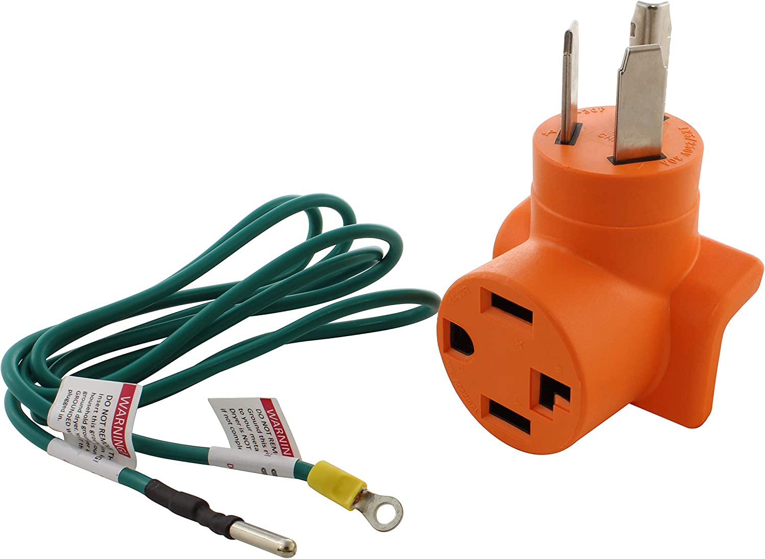 AC WORKS 30 Amp 3-Prong Dryer Wall Outlet Adapter (To 4-Prong 30Amp Dryer Plug)