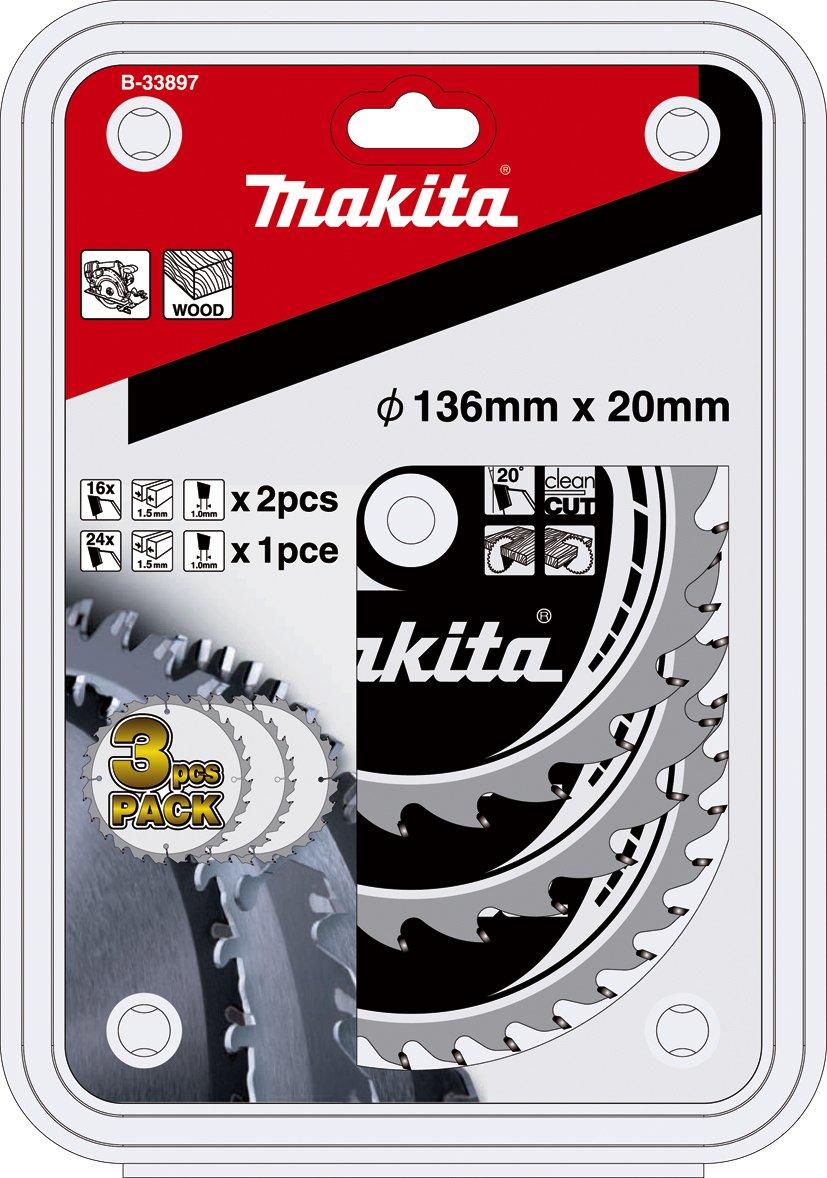 Aparoli B-33897 Lot de 3 lames de scie circulaire Makita 136 mm pour scie circulaire sans fil