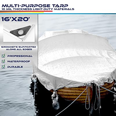 Windscreen4less 16' x 20' Heavy Duty 10 Mil Waterproof White Poly Tarp