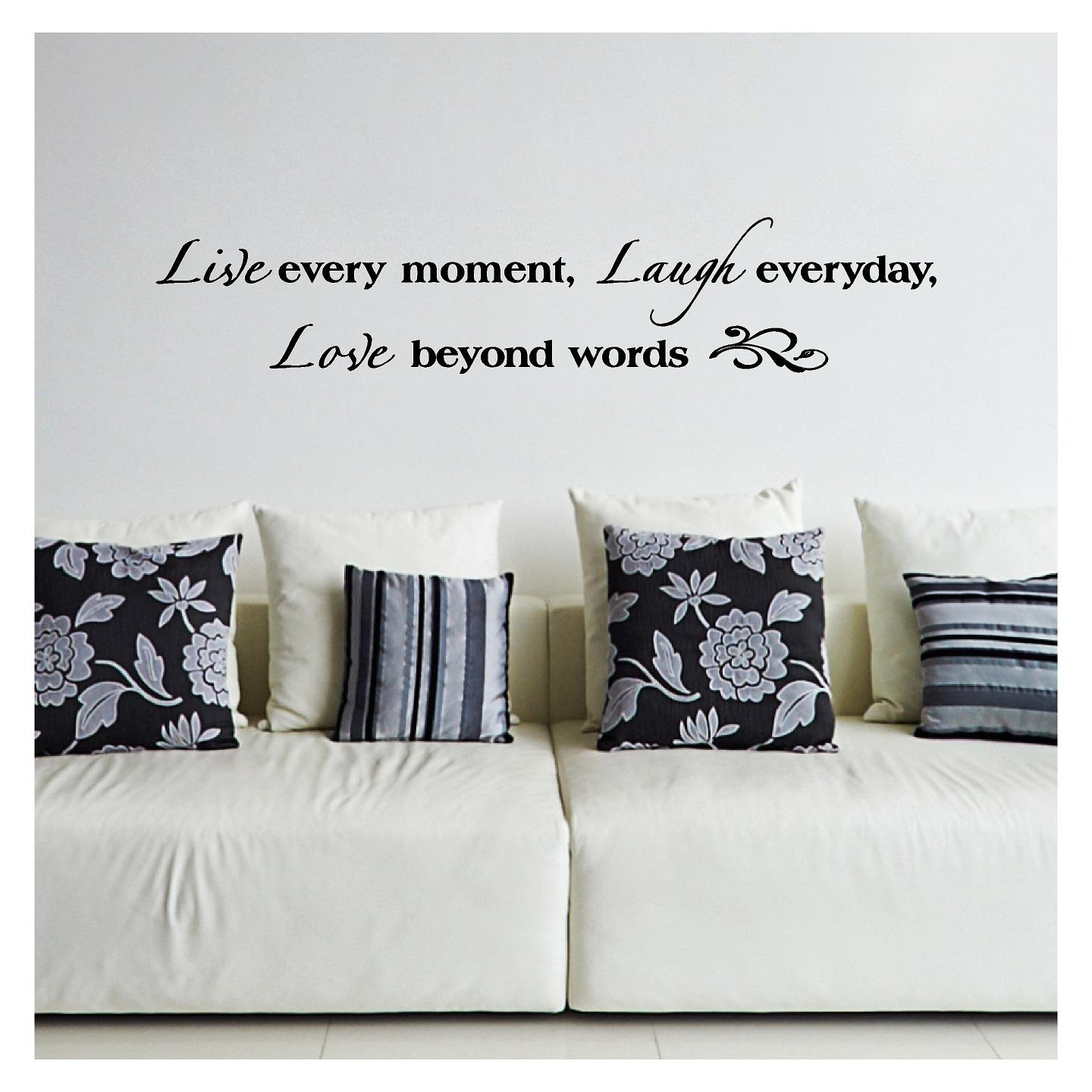 Live Every Moment, Laugh Everyday, Love Beyond Words Vinyl Lettering Wall Decal Sticker (8''H x 40''L, Black) by Wall Sayings Vinyl Lettering (Image #1)