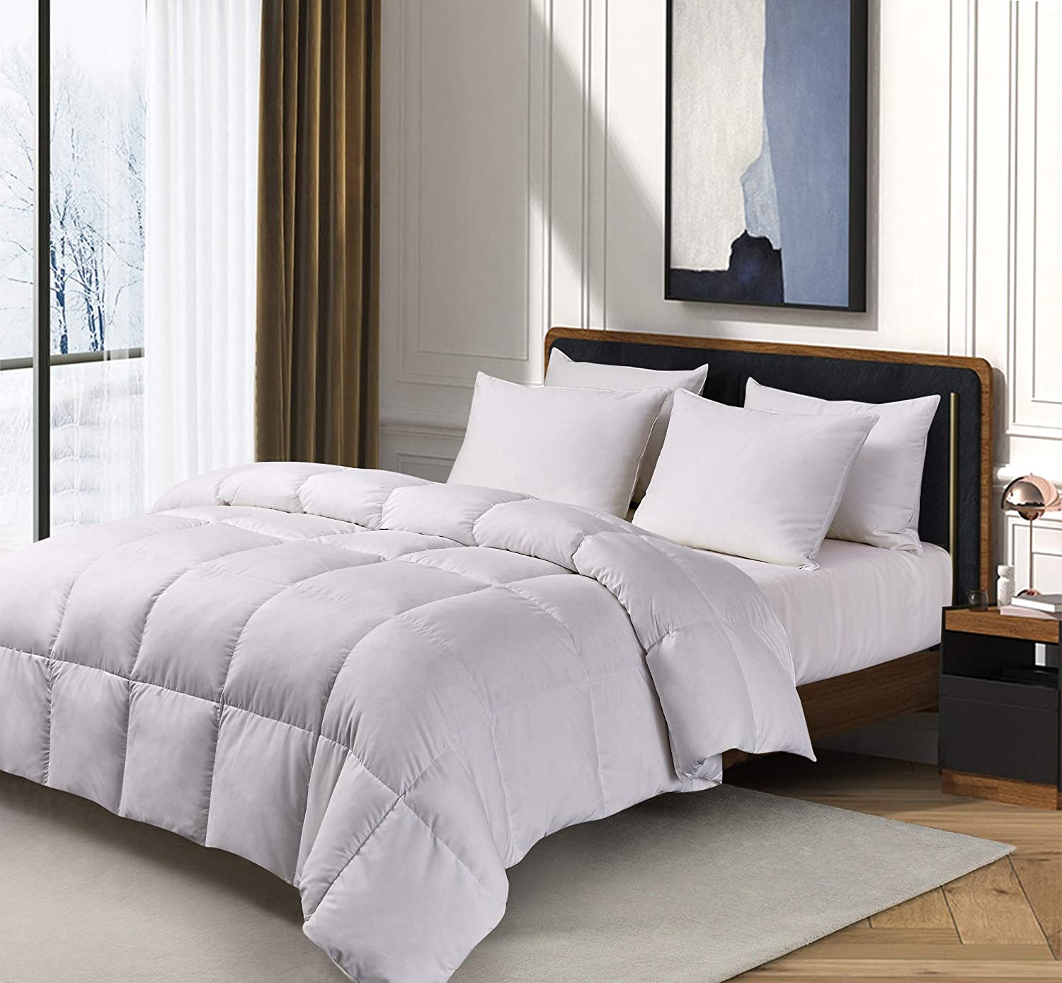 Kathy Ireland White Essential Microfiber Cover Feather Comforter-Hypoallergenic Fill-All Season Warmth, Twin