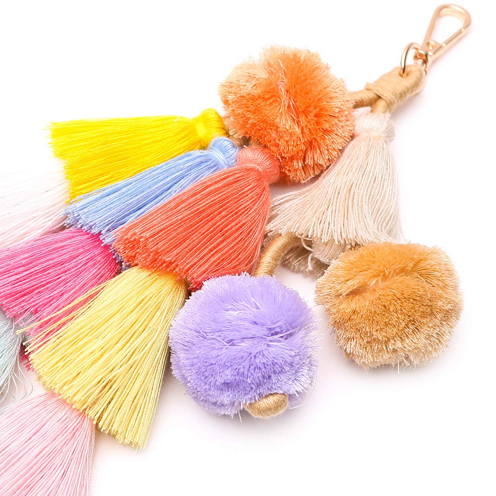 Colorful Boho Pompoms Tassel Bag Charm Summer Straw Bag Key Chain by Caissip (Image #4)